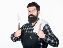 Barbecue Master. Bearded Hipster Wear Apron For Barbecue. Roasting And Grilling Food. Man Hold Cooking Utensils Barbecue. Tools For Roasting Meat Outdoors. Picnic And Barbecue. Cooking Meat In Park