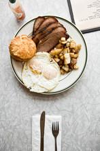 Overhead View Of Breakfast Ser...