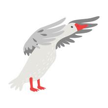 Cute White Goose Cartoon Chara...