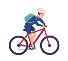 Cheerful Boy In Helmet Riding Bike. Smiling Sportsman On Bicycle Isolated On White Background. Happy Male Bicyclist Taking Part In Sports Race. Colorful Vector Illustration In Flat Cartoon Style.