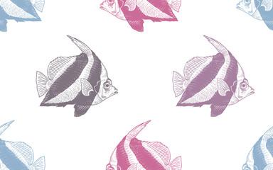 Naklejka Marynistyczny Decorative fish under water. Seamless vector pattern.