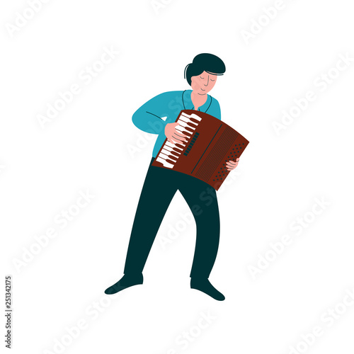 Vászonkép  Male Musician Playing Accordion, Man with Musical Instrument Vector Illustration