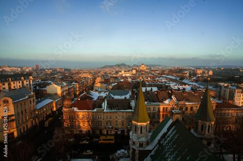 Fototapeta Beautiful cityscape of Lviv in Ukraine at sunset from above. obraz na płótnie