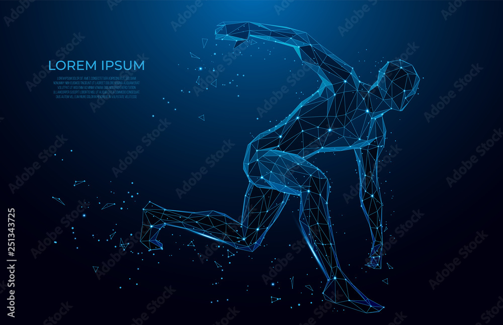 Fototapeta Human body low poly wireframe. Athlete, Running man from triangles, low poly style. sport concept.Vector polygonal futuristic image. Polygonal wireframe mesh art