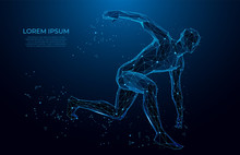 Human Body Low Poly Wireframe. Athlete, Running Man From Triangles, Low Poly Style. Sport Concept.Vector Polygonal Futuristic Image. Polygonal Wireframe Mesh Art