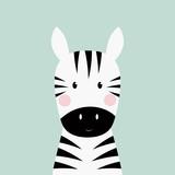 Fototapeta Zebra - zebra head card