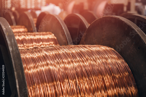 Photo Production of copper wire, bronze cable in reels at factory