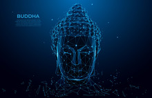 Buddha Head Silhouette Low Poly Wireframe. Thai Culture Concept With Buddha, Low Poly Style.  Vector Polygonal Wireframe Mesh Art