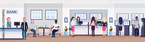 Fotografia  banking visitors and workers financial consulting center with waiting room recep