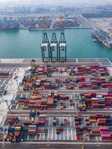 Foto op Plexiglas China Aerial view of logistics and transportation of Container Cargo ship and Crane Bridge, Import and Export business shipping concept.