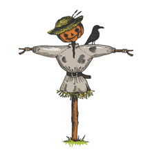 Scarecrow Doll Color Sketch Engraving Vector Illustration. Scratch Board Style Imitation. Hand Drawn Image.
