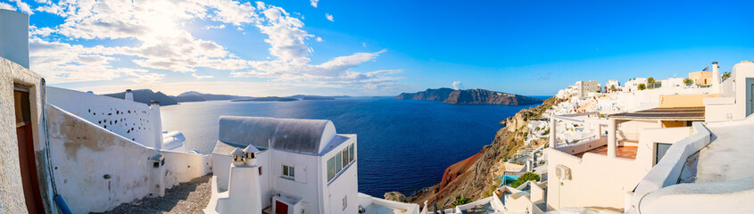 Architektura wsi Panorama Oia. Grecja Santorini Island