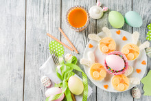 Easter Kids Food Creative Ideas, Breakfast Sandwiches  In Form Of Bunny Rabbits, With Colorful Eggs, Carrot Juice And Decorations, Wooden Background Copy Space