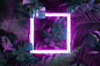 canvas print picture - Creative fluorescent color layout made of tropical leaves with neon light square. Flat lay. Nature concept.