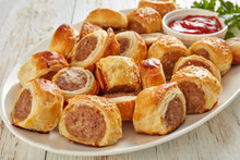 Freshly Baked Puff Pastry Sausage Rolls, Close-up