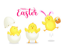 Cute Cartoon Chicken Cracking From Egg Shell Wearing Easter Bunny Ear. Easter Egg Hunt Poster Invitation Template. Vector Illustration Isolated On White Background.
