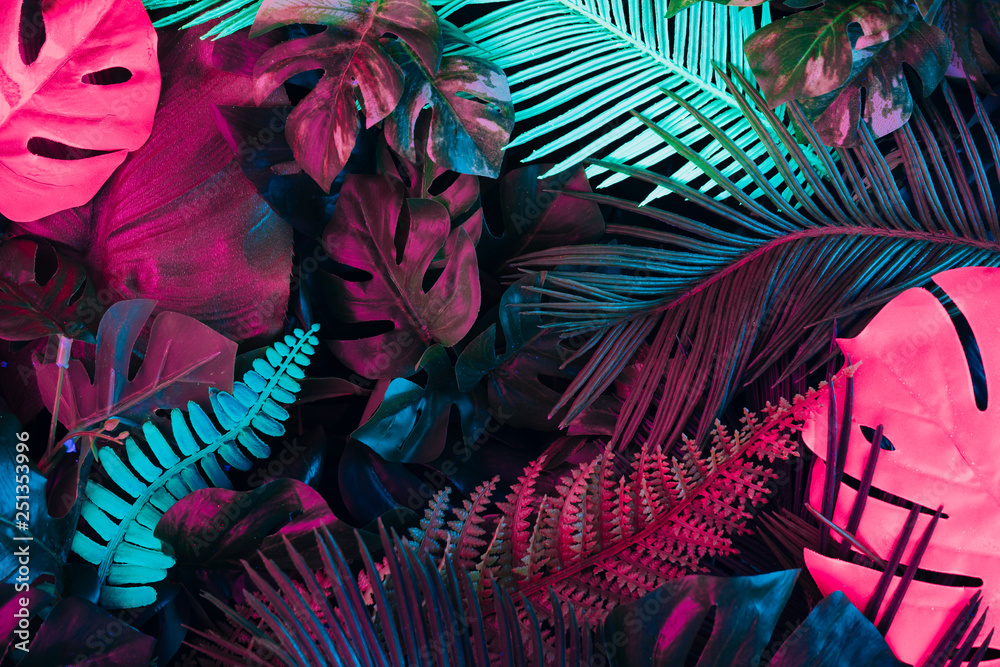 Fototapety, obrazy: Creative fluorescent color layout made of tropical leaves. Flat lay neon colors. Nature concept.