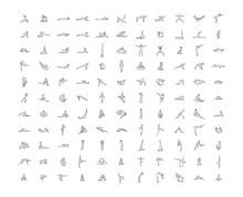 Vector Hand Drawn Illustration Of Yoga Icons Illustration On White Background.