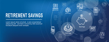 Retirement Account And Savings Icon Set Web Header Banner W Mutual Fund, Roth IRA, Etc