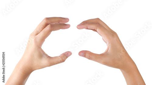 Obraz Woman's hands gesture holding hamburger. - fototapety do salonu