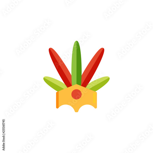 Foto  Brazilian headdress with feathers flat icon, vector sign, colorful pictogram isolated on white