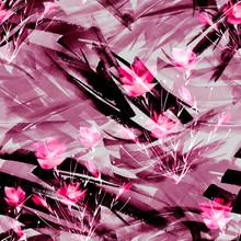 Vintage Seamless Watercolor Pattern Of Plants, Herbs, Flowers, Poppy, Rose, Peony. Red, Burgundy, Black, White Flowers Watercolor. Stylish Pattern. Abstract Paint Splash. Watercolor Background.