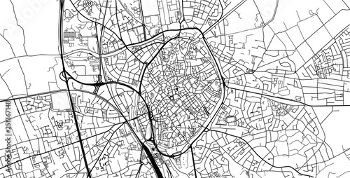 Urban vector city map of Bruges, Belgium Fototapet