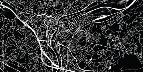 Urban vector city map of Liege, Belgium Canvas