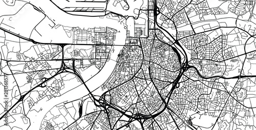 Urban vector city map of Antwerp, Belgium Canvas