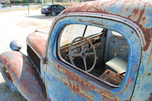 Close-up Of The Cab Of An Old Rusty Pickup Car, Rhodes Island, Greece
