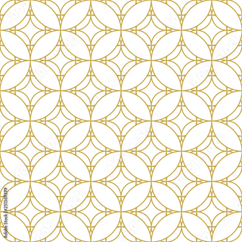 Fotografie, Obraz  Seamless geometric vector pattern with oriental ornament in gold
