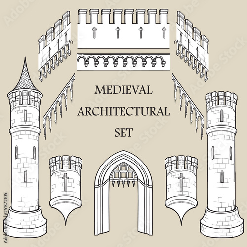 Photo  Set of the Medieval Castle architectural elements