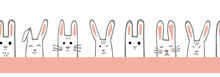 Seamless Horizontal Pattern With Bunny Faces. Rabbits Vector Border Or Tape