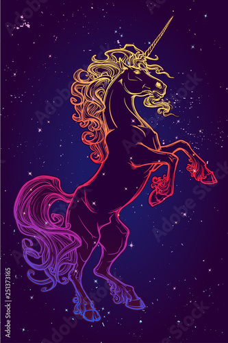 Rearing Up Unicorn Fantasy Concept Art For Tattoo Logo Colour Drawing Isolated On Starry Night Sky Background Eps10 Vector Illustration Buy This Stock Vector And Explore Similar Vectors At Adobe Stock