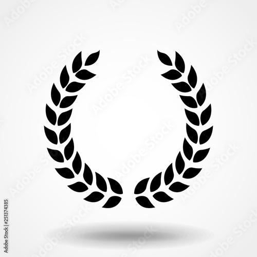 Fototapeta Laurel wreath Icon Vector. Simple flat symbol. Perfect Black pictogram illustration on white background. obraz