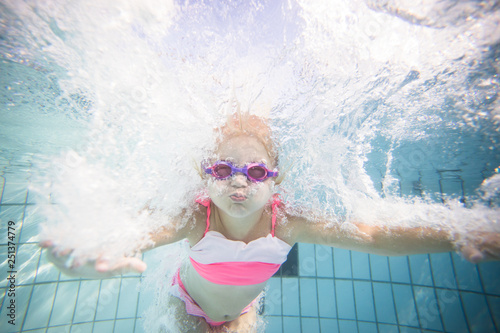 Photo  Wide angle underwater photo of a toddler girl swimming in a big swimming pool wi