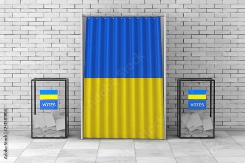 Valokuva  Ballot Boxes near White Voting Booth with Curtain and Ukraine Flag