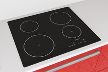 Modern Induction Cooktop Stove With Red Kitchen Furniture. 3d Rendering