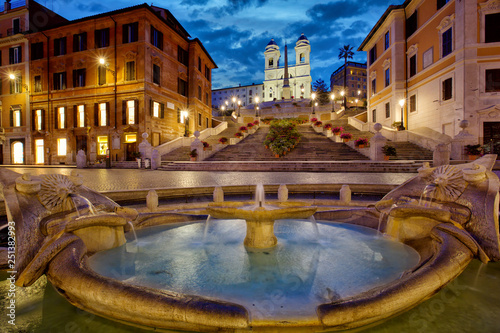 Garden Poster Rome Spanish Steps, night time in Rome, Italy