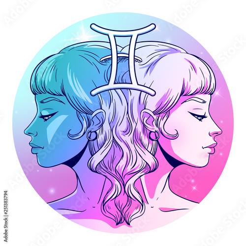 Fotografia Gemini zodiac sign artwork, beautiful girl face, horoscope symbol, star sign, ve