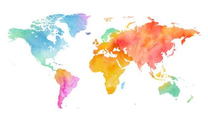 Mehrfarbenaquarell-Weltkarte auf weißem Hintergrund.