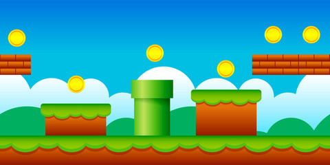 Vector Seamless Old Retro Video Game Background. Classic Style Game Design Sc...