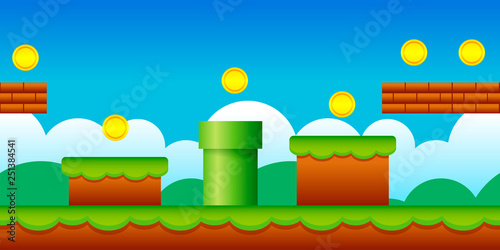 Photo  Vector Seamless Old Retro Video Game Background