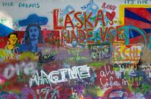 PRAGUE, CZECH REPUBLIC - OCTOBER 12, 2018:  Detail Of John Lennon Peace Wall Created In 1980.