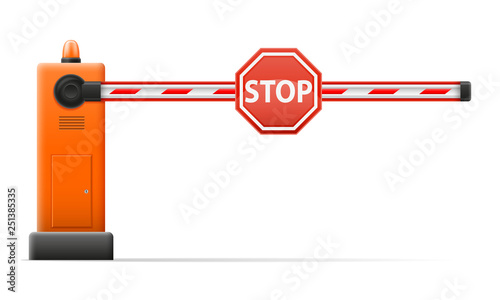 automatic barrier to adjust the movement of cars stock vector illustration Canvas Print