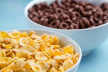 Yellow Frosted Corn Flakes And Chocolate Rings Bowl For Dry, Cereals Breakfast