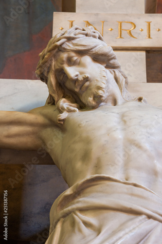 PRAGUE, CZECH REPUBLIC - OCTOBER 13, 2018: The marble Crucifixion in church kostel Svatého Václava by artvork prof. Suchard and made by Čeněk Vosmík (end of 19. cent).
