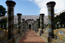 Naples (Italy). Majolica In The Cloister Of The Basilica And Convent Of Santa Clara In The City Of Naples