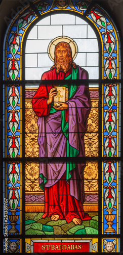 Photo  PRAGUE, CZECH REPUBLIC - OCTOBER 13, 2018: The apostle Saint Barnabas in the stained glass of the church kostel Svatého Václava  (end of 19