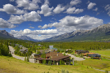 Aerial View Of Canmore In Cana...